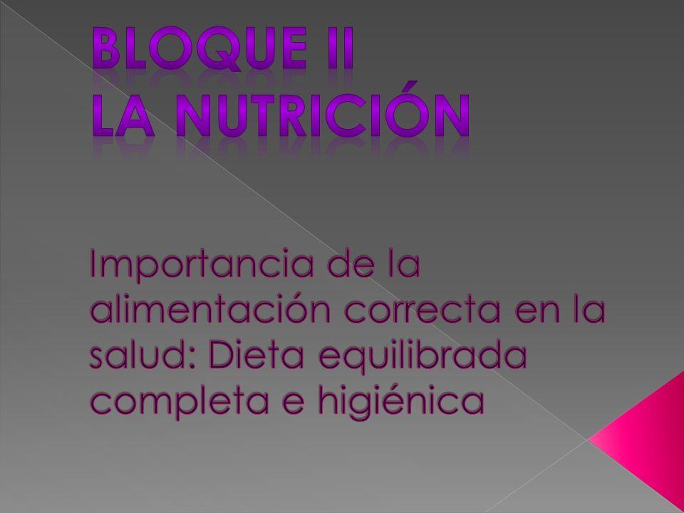 Bloque ii La Nutrición Importancia de la alimentación correcta en la salud: Dieta equilibrada completa e higiénica