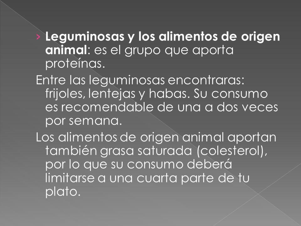 Leguminosas y los alimentos de origen animal: es el grupo que aporta proteínas.