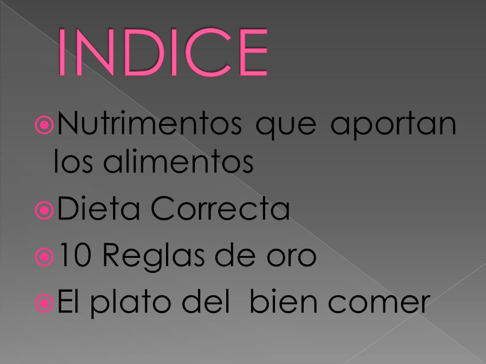 INDICE Nutrimentos que aportan los alimentos Dieta Correcta