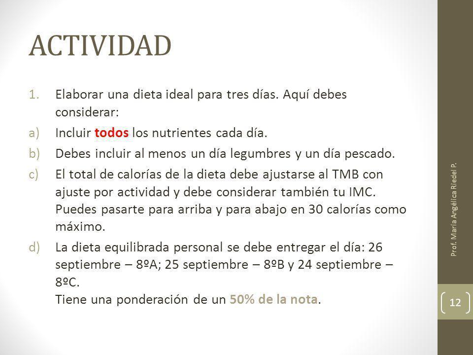 ACTIVIDAD Elaborar una dieta ideal para tres días. Aquí debes considerar: Incluir todos los nutrientes cada día.