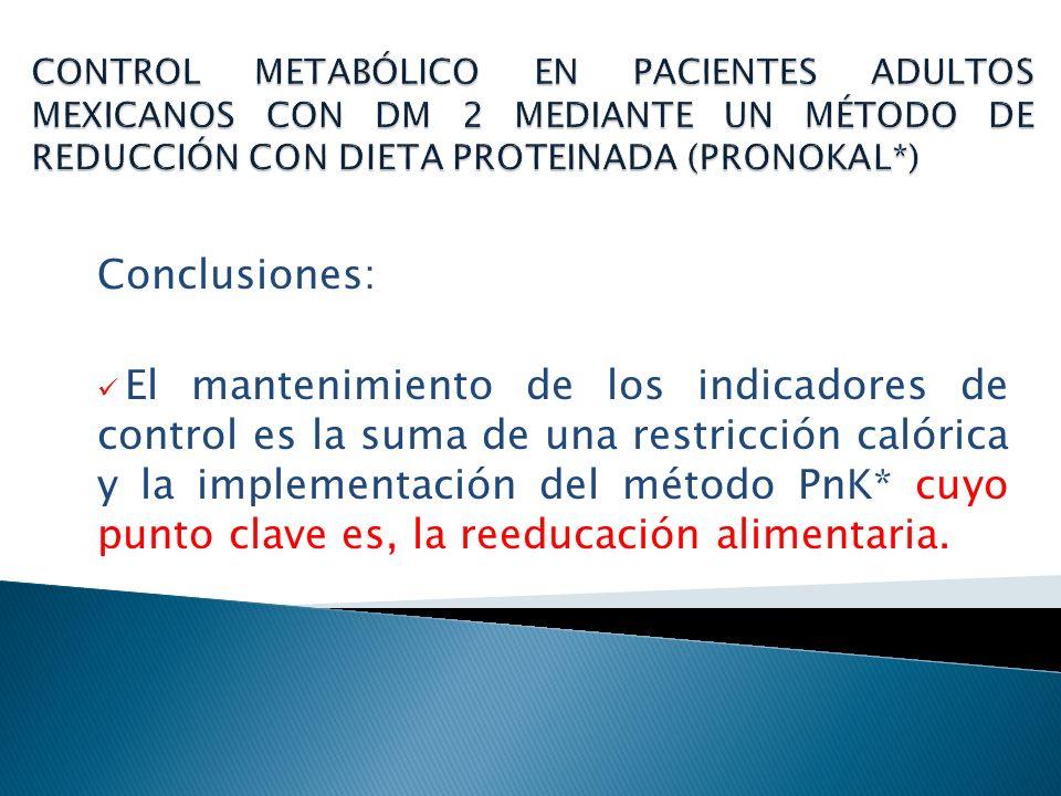 CONTROL METABÓLICO EN PACIENTES ADULTOS MEXICANOS CON DM 2 MEDIANTE UN MÉTODO DE REDUCCIÓN CON DIETA PROTEINADA (PRONOKAL*)