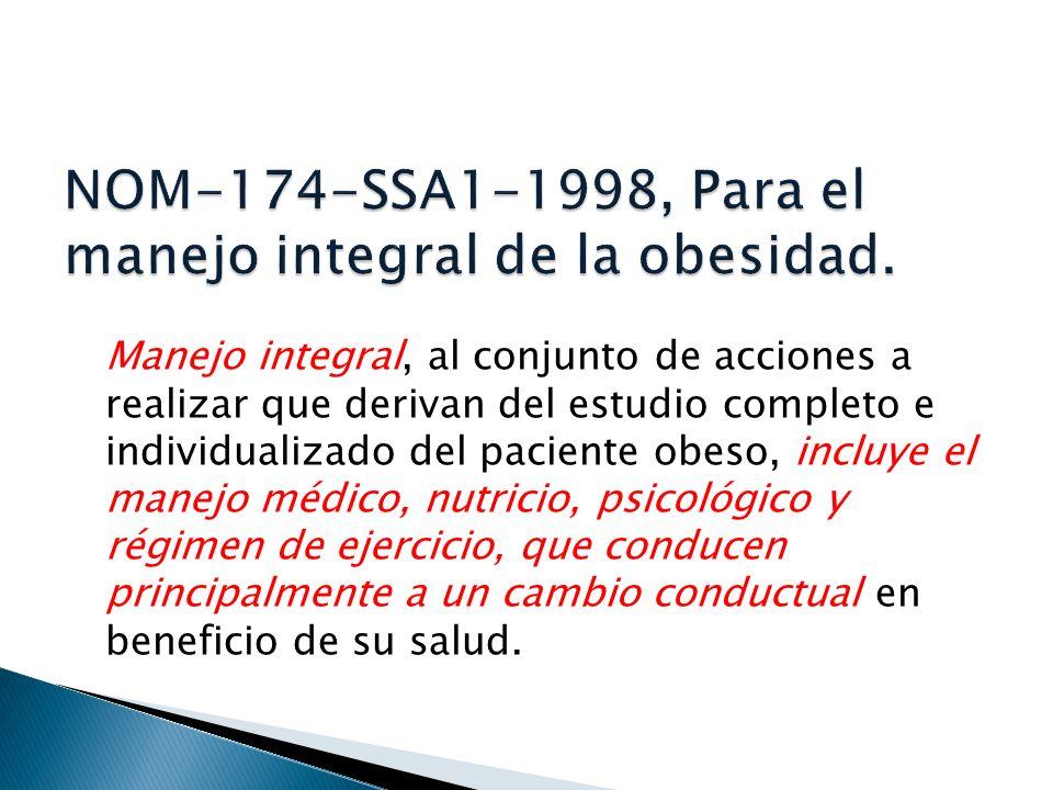 NOM-174-SSA1-1998, Para el manejo integral de la obesidad.