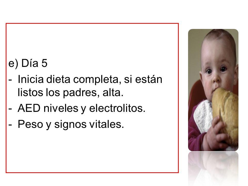 e) Día 5 Inicia dieta completa, si están listos los padres, alta.