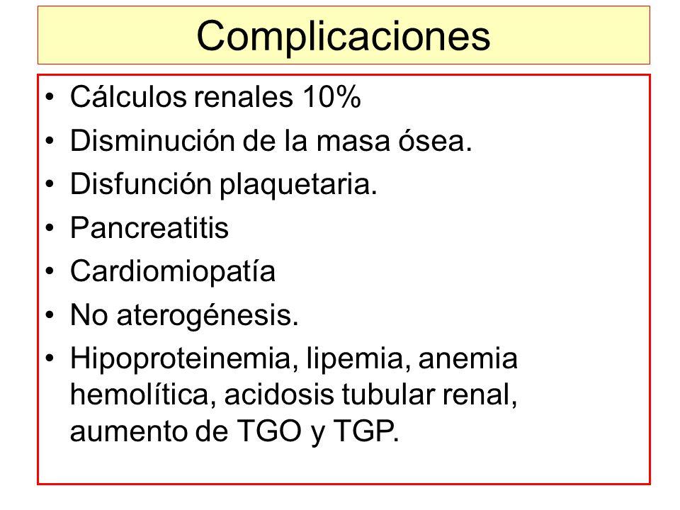 Complicaciones Cálculos renales 10% Disminución de la masa ósea.