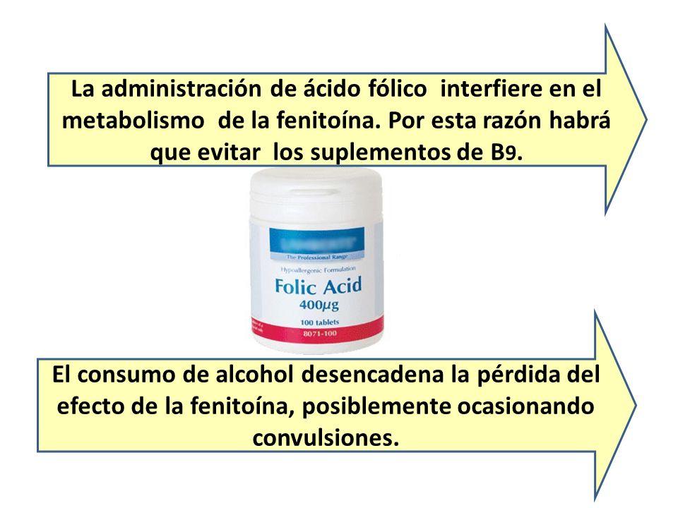 La administración de ácido fólico interfiere en el metabolismo de la fenitoína. Por esta razón habrá que evitar los suplementos de B9.