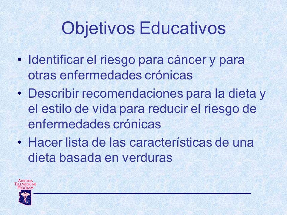Objetivos Educativos Identificar el riesgo para cáncer y para otras enfermedades crónicas.
