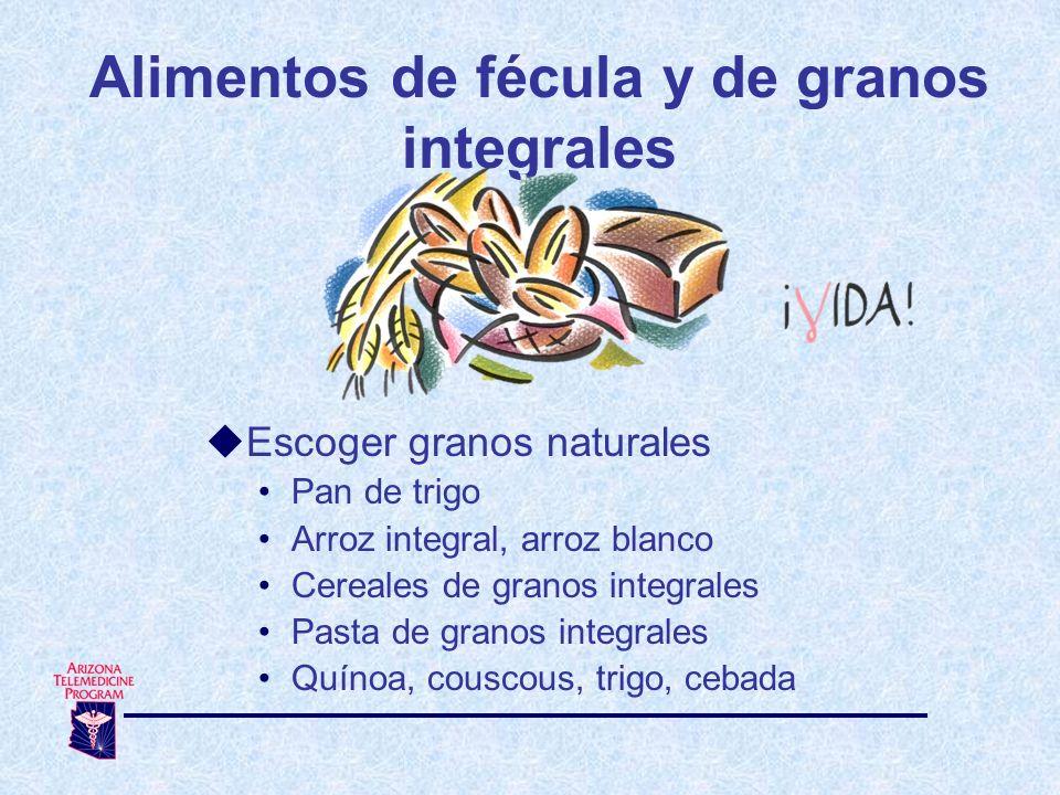Alimentos de fécula y de granos integrales