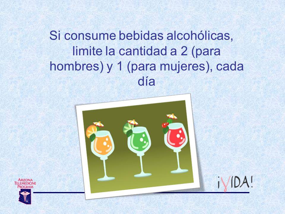 Si consume bebidas alcohólicas, limite la cantidad a 2 (para hombres) y 1 (para mujeres), cada día
