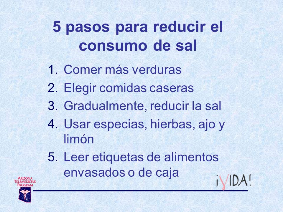 5 pasos para reducir el consumo de sal