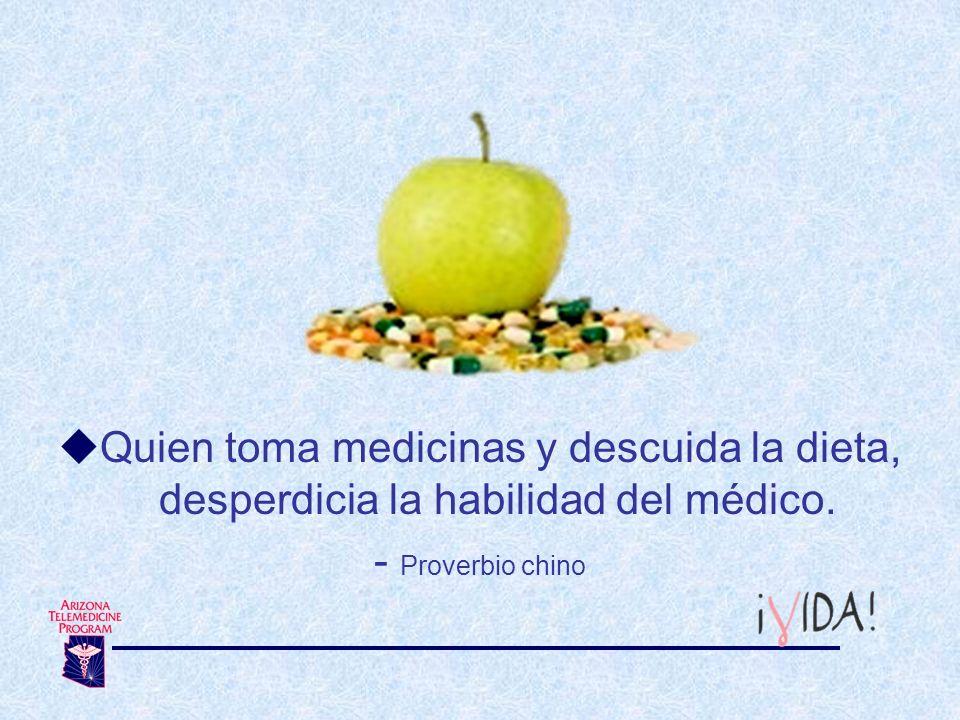 Quien toma medicinas y descuida la dieta, desperdicia la habilidad del médico.