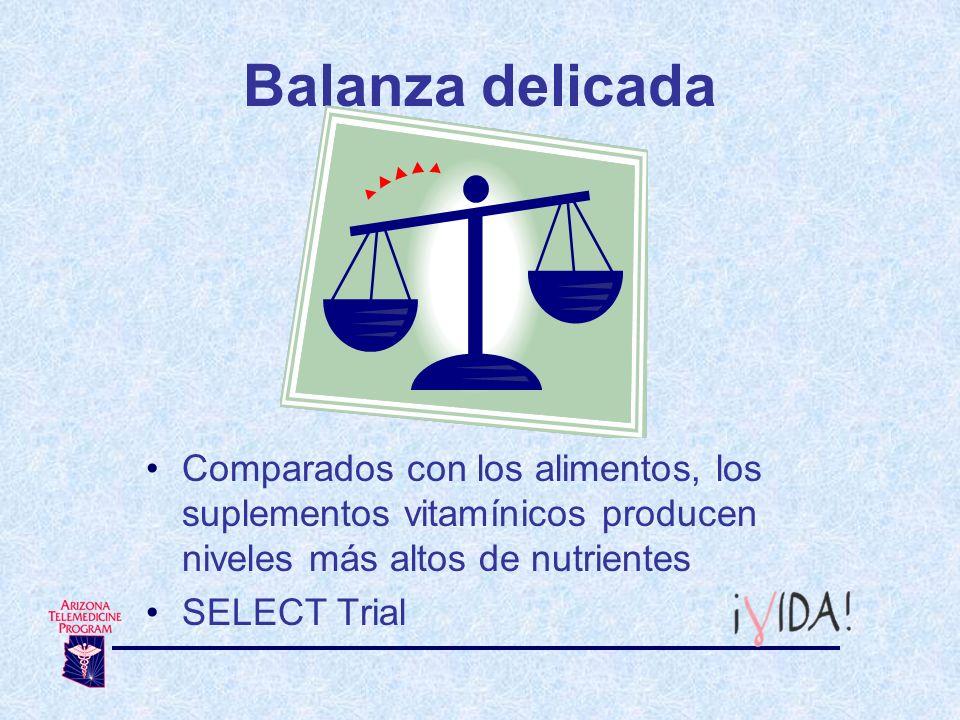 Balanza delicada Comparados con los alimentos, los suplementos vitamínicos producen niveles más altos de nutrientes.