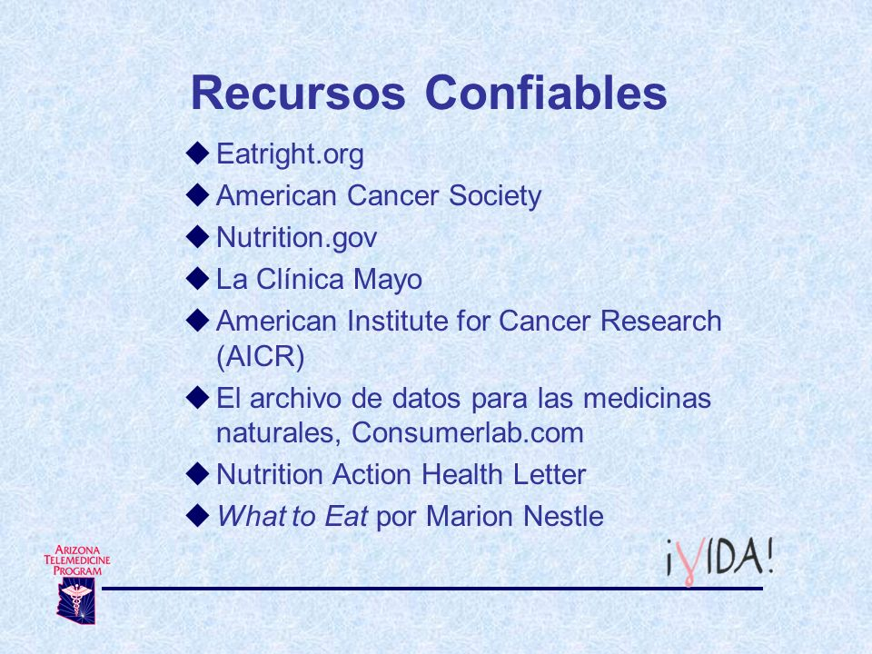 Recursos Confiables Eatright.org American Cancer Society Nutrition.gov