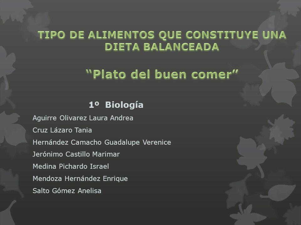 TIPO DE ALIMENTOS QUE CONSTITUYE UNA DIETA BALANCEADA Plato del buen comer