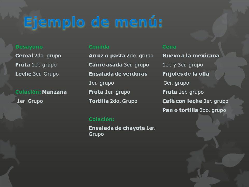 Ejemplo de menú: Desayuno Comida Cena Cereal 2do. grupo