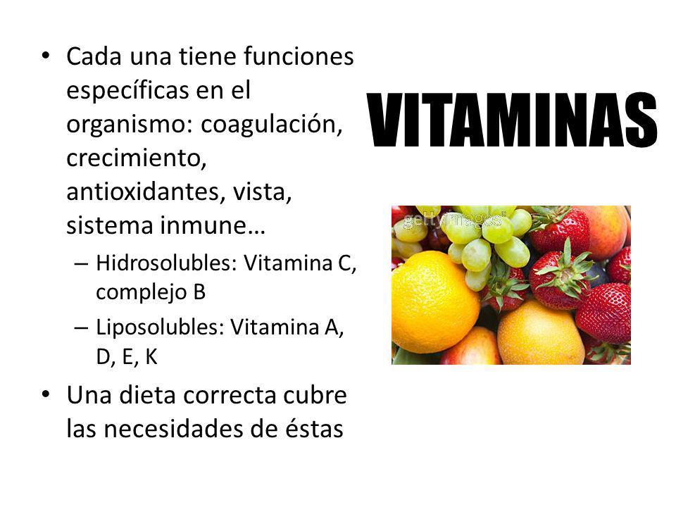 Cada una tiene funciones específicas en el organismo: coagulación, crecimiento, antioxidantes, vista, sistema inmune…
