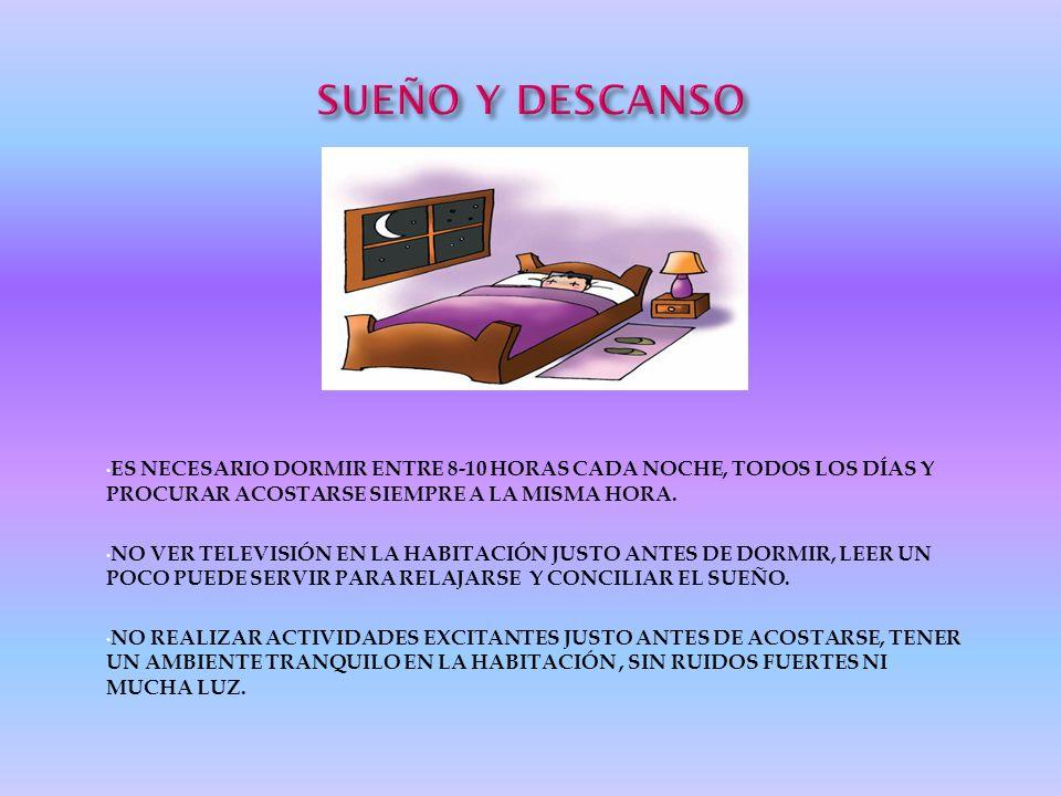 SUEÑO Y DESCANSOES NECESARIO DORMIR ENTRE 8-10 HORAS CADA NOCHE, TODOS LOS DÍAS Y PROCURAR ACOSTARSE SIEMPRE A LA MISMA HORA.