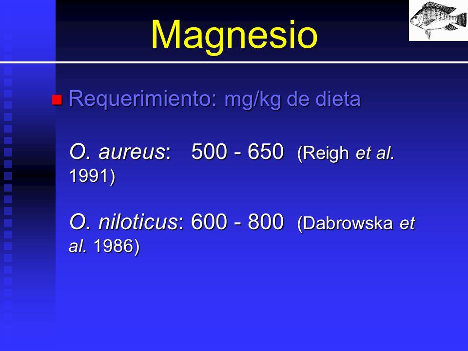 Magnesio Requerimiento: mg/kg de dieta O. aureus: 500 - 650 (Reigh et al.