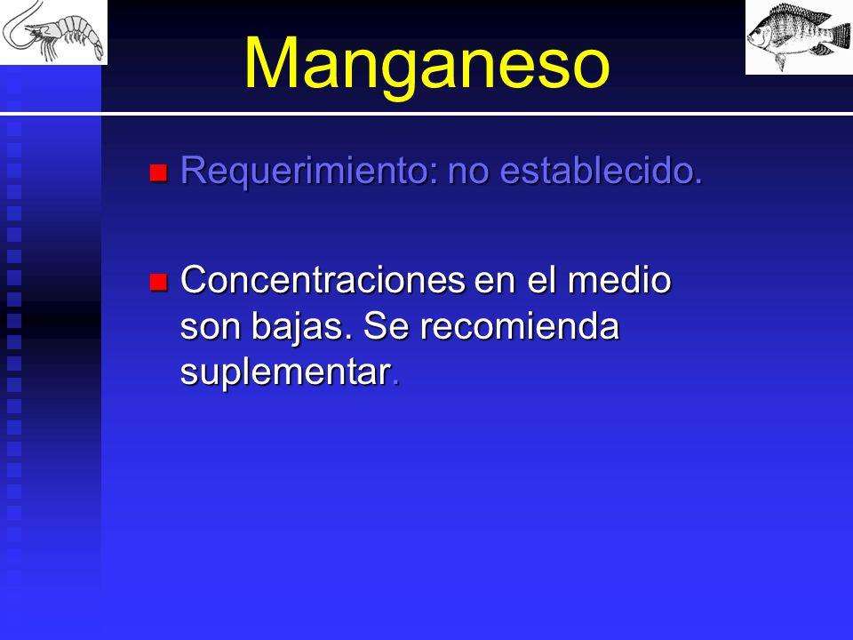 Manganeso Requerimiento: no establecido.