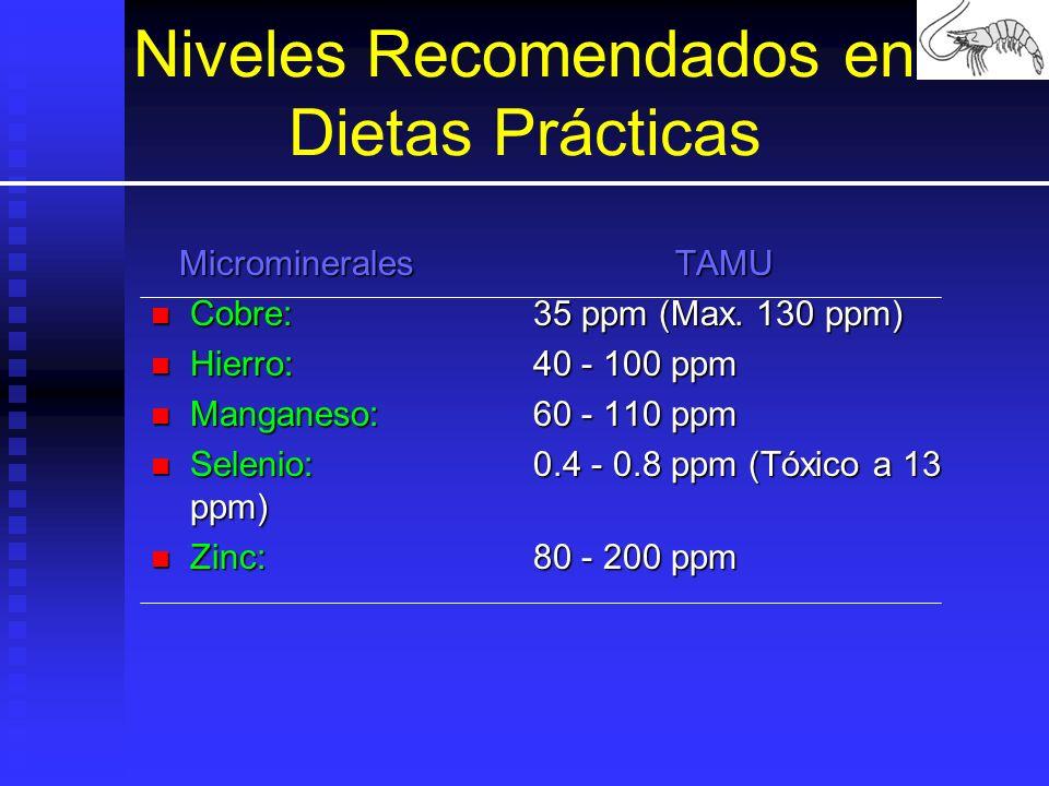 Niveles Recomendados en Dietas Prácticas