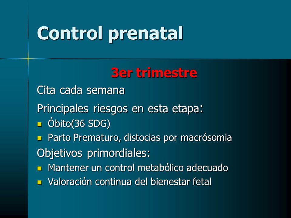 Control prenatal 3er trimestre Cita cada semana