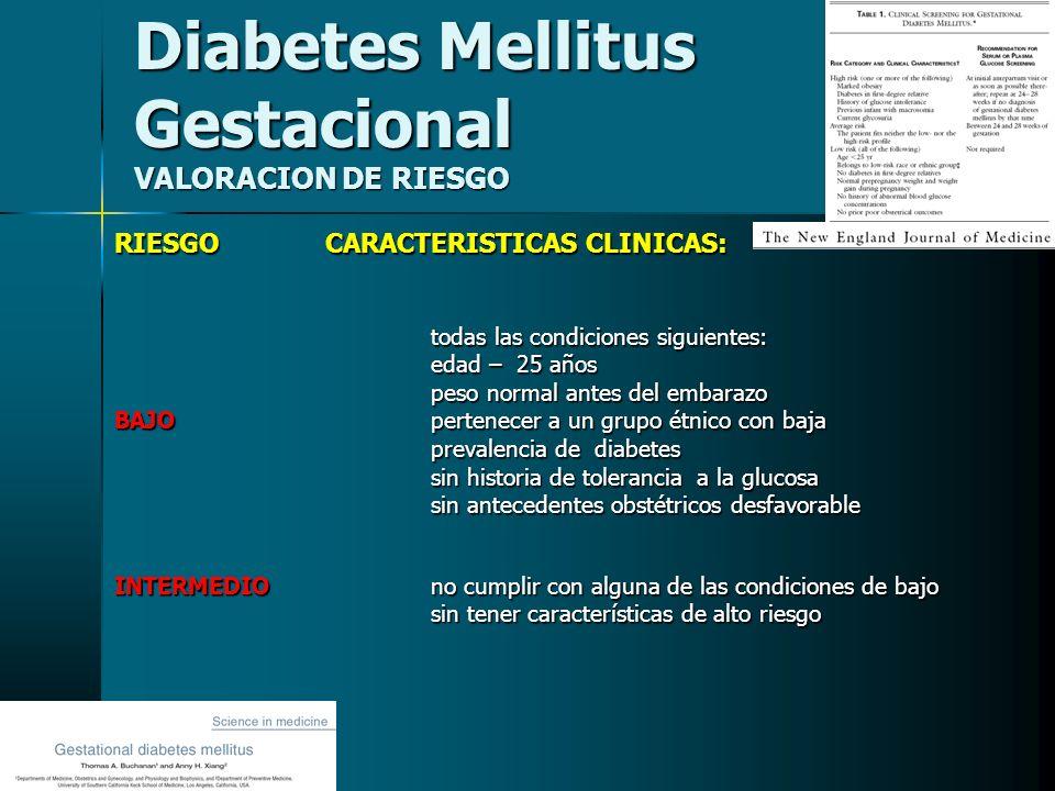 Diabetes Mellitus Gestacional VALORACION DE RIESGO