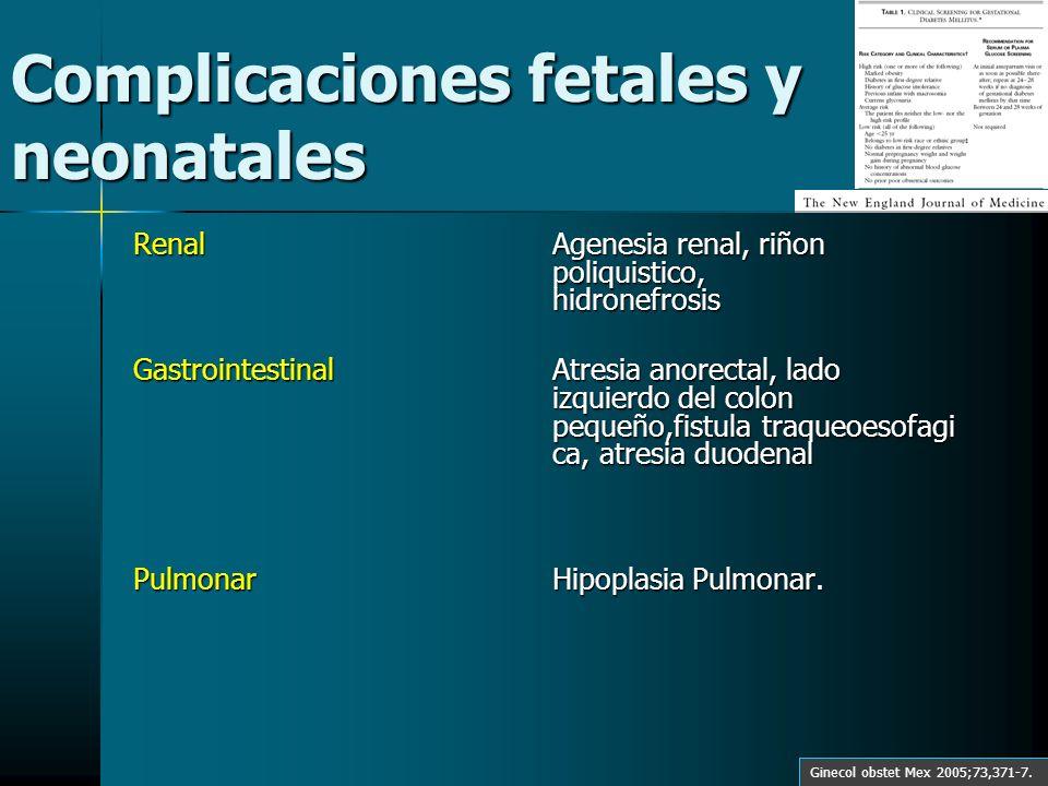Complicaciones fetales y neonatales