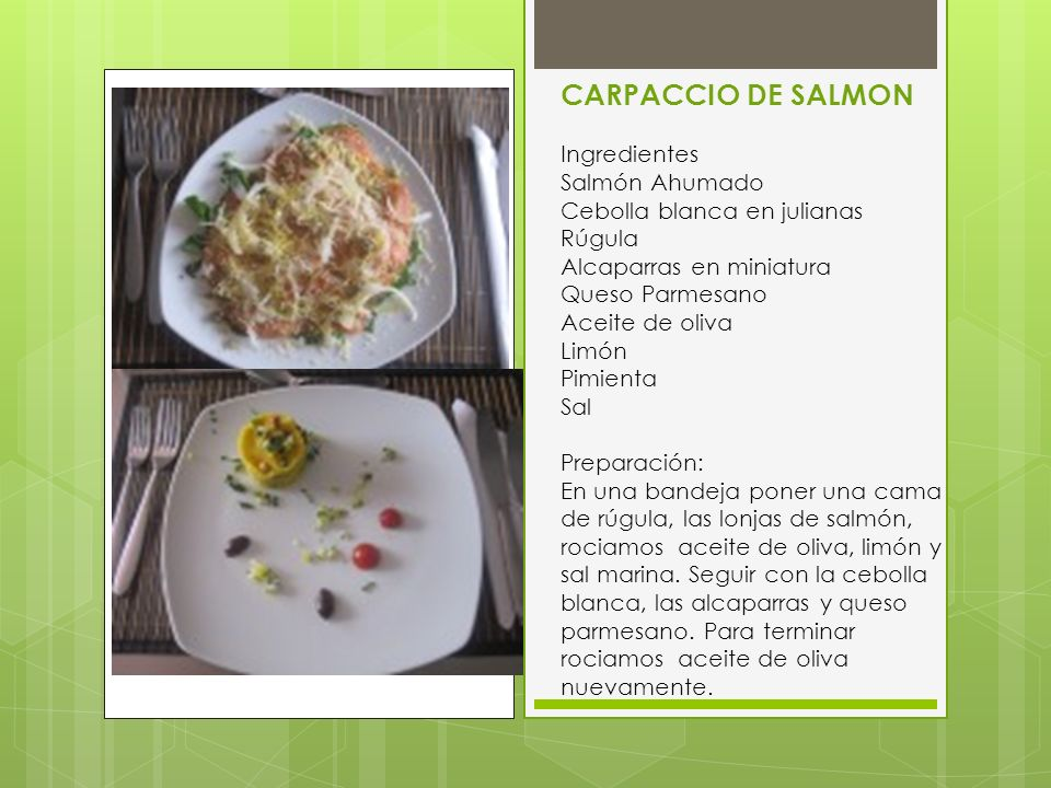 CARPACCIO DE SALMON Ingredientes Salmón Ahumado