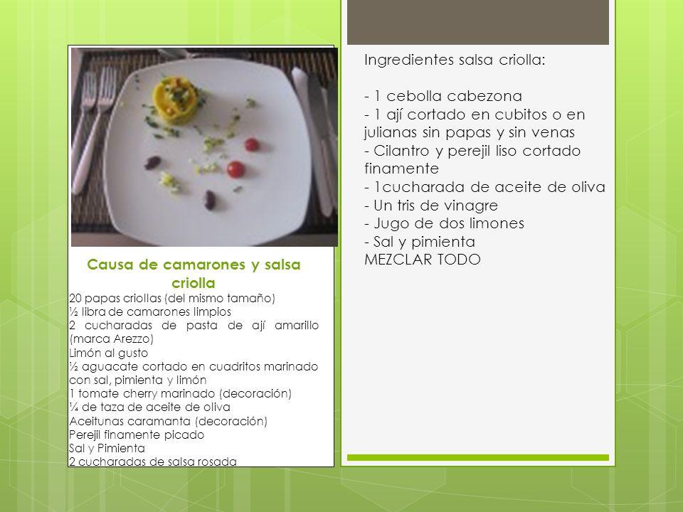 Causa de camarones y salsa criolla