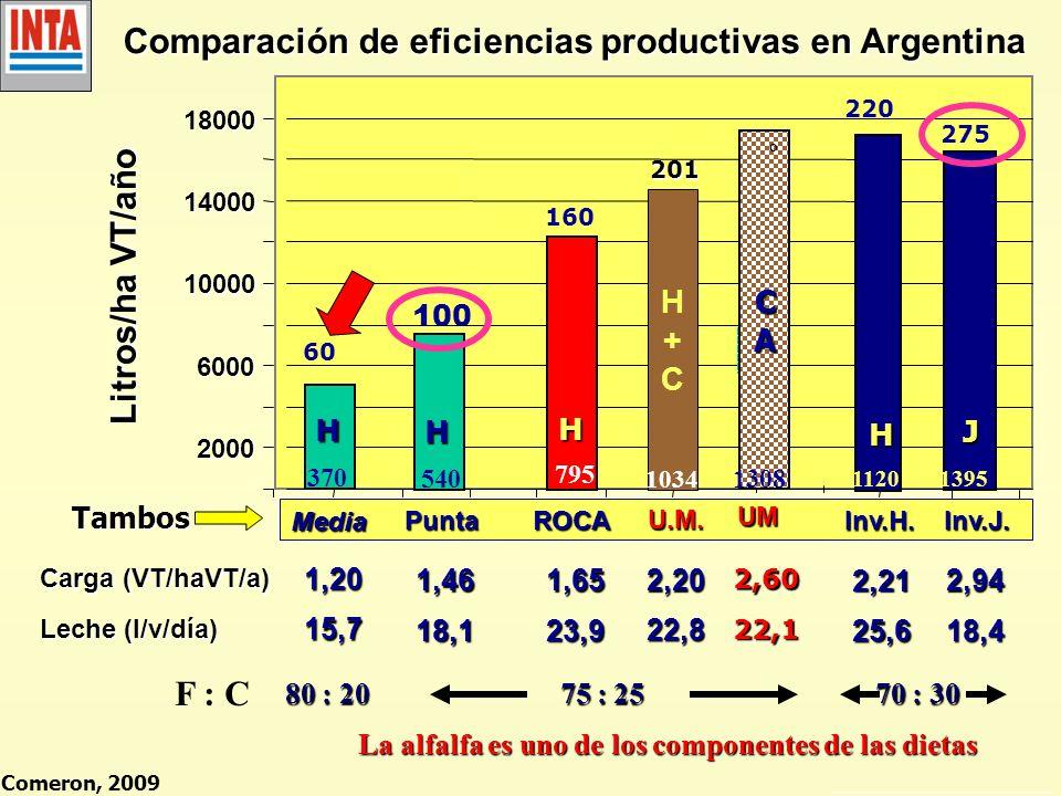 Comparación de eficiencias productivas en Argentina