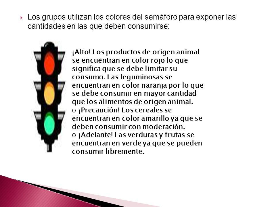 Los grupos utilizan los colores del semáforo para exponer las cantidades en las que deben consumirse: