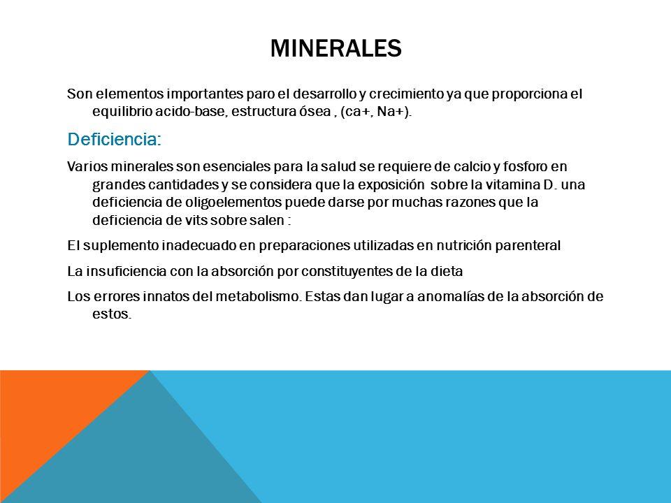 minerales Deficiencia: