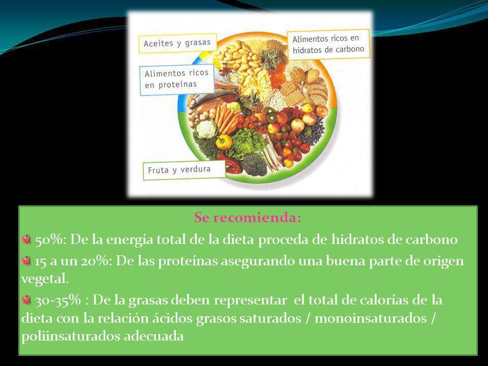 Se recomienda: 50%: De la energía total de la dieta proceda de hidratos de carbono.