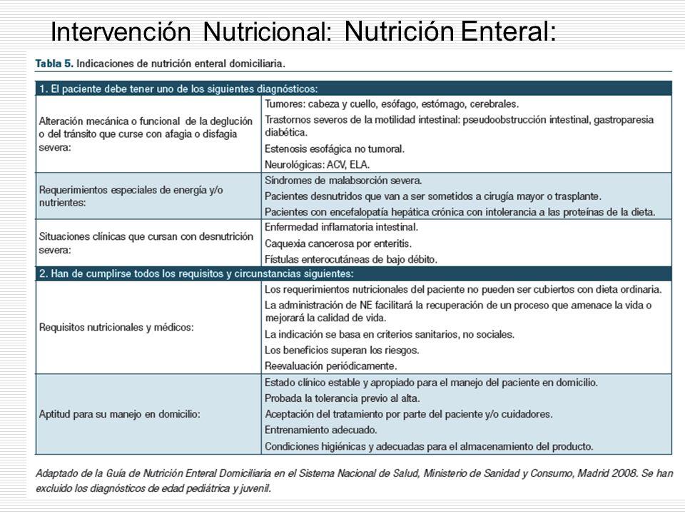 Intervención Nutricional: Nutrición Enteral: