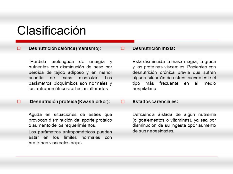 Clasificación Desnutrición calórica (marasmo):