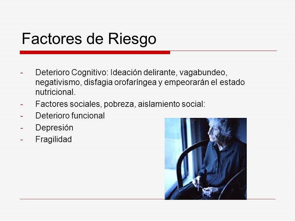 Factores de Riesgo Deterioro Cognitivo: Ideación delirante, vagabundeo, negativismo, disfagia orofaríngea y empeorarán el estado nutricional.