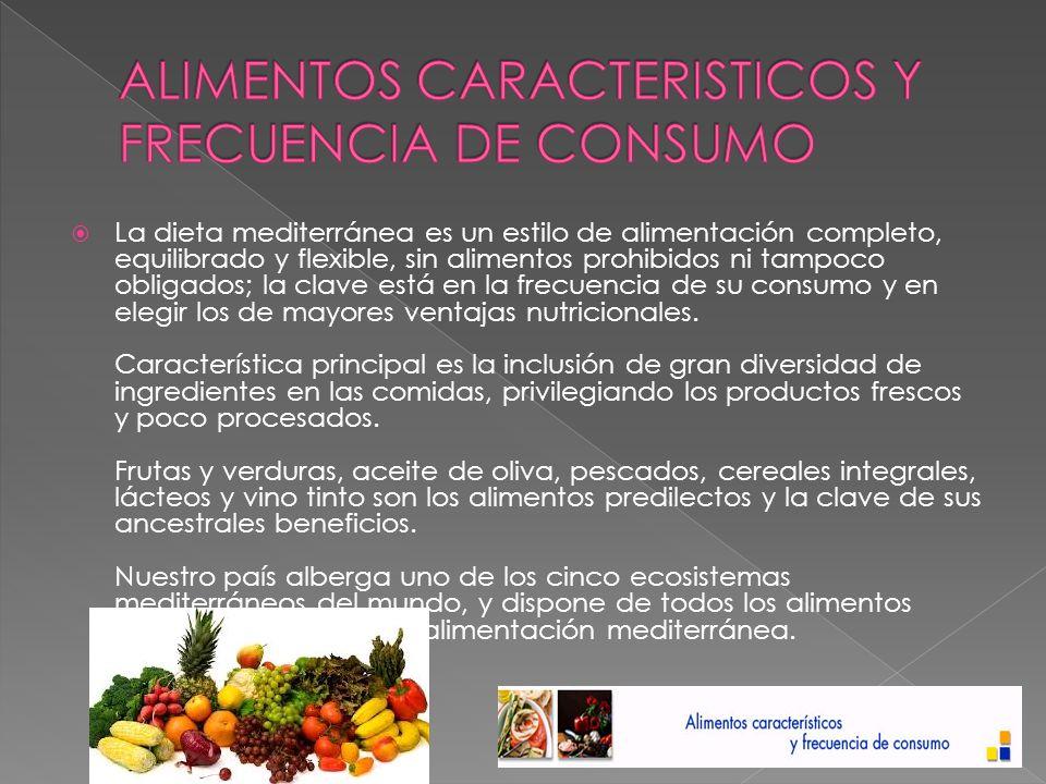 ALIMENTOS CARACTERISTICOS Y FRECUENCIA DE CONSUMO