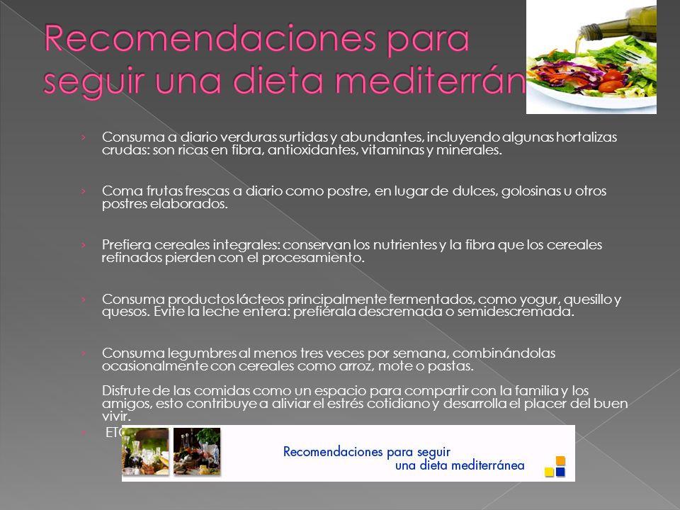 Recomendaciones para seguir una dieta mediterránea