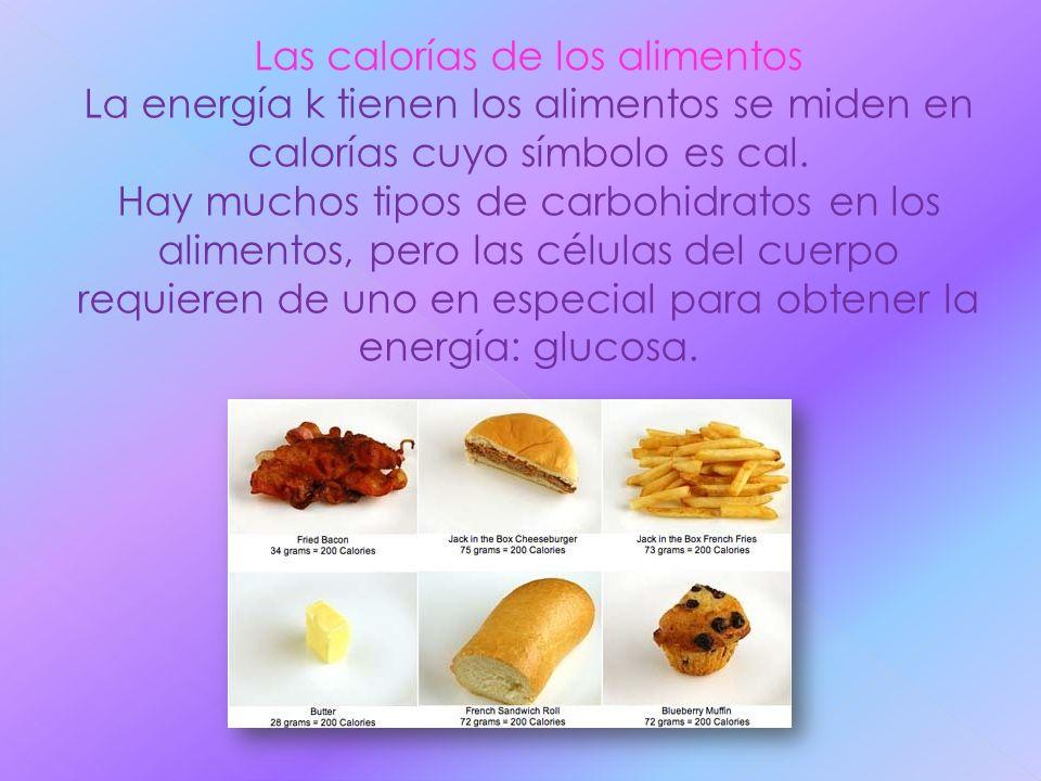 Las calorías de los alimentos