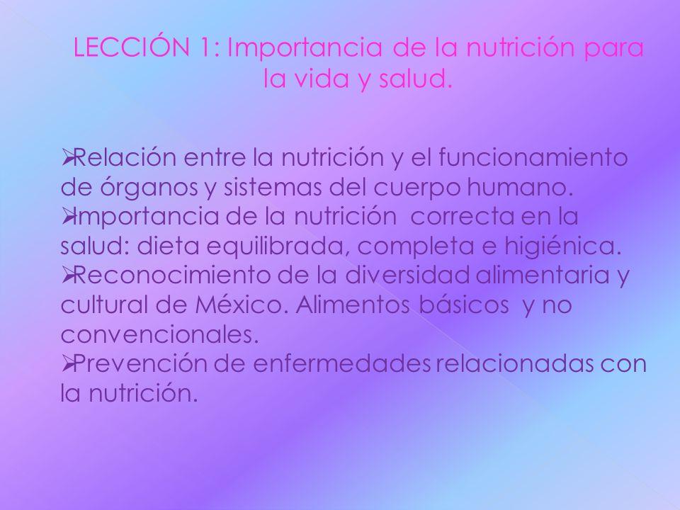LECCIÓN 1: Importancia de la nutrición para la vida y salud.