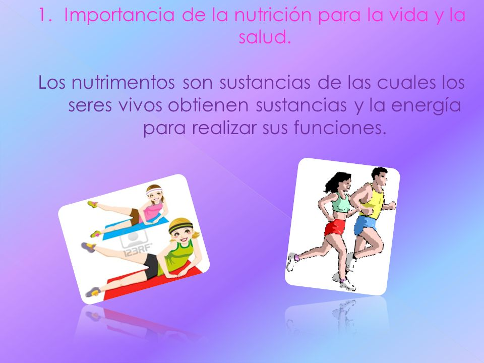 Importancia de la nutrición para la vida y la salud.