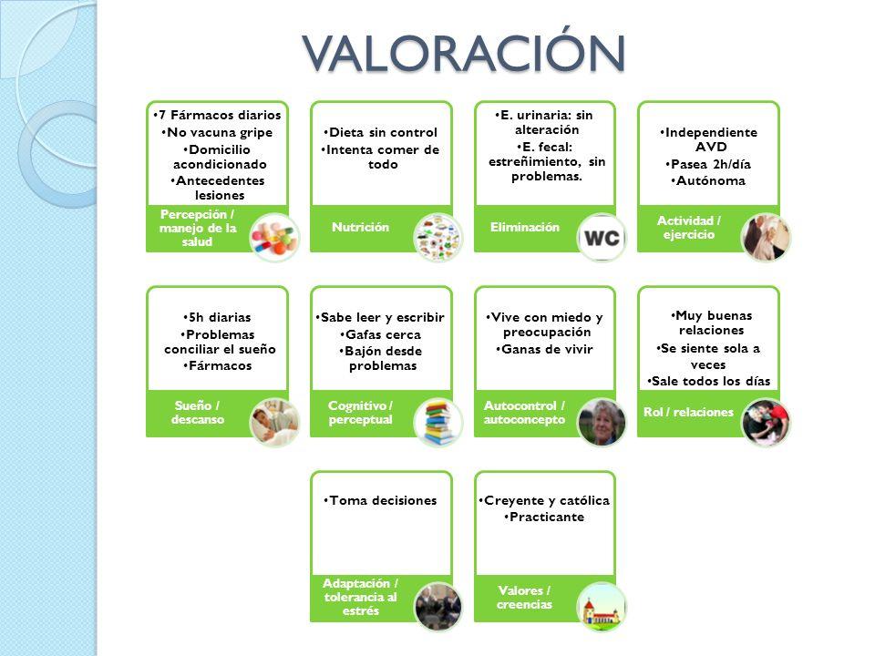VALORACIÓN 7 Fármacos diarios No vacuna gripe Domicilio acondicionado