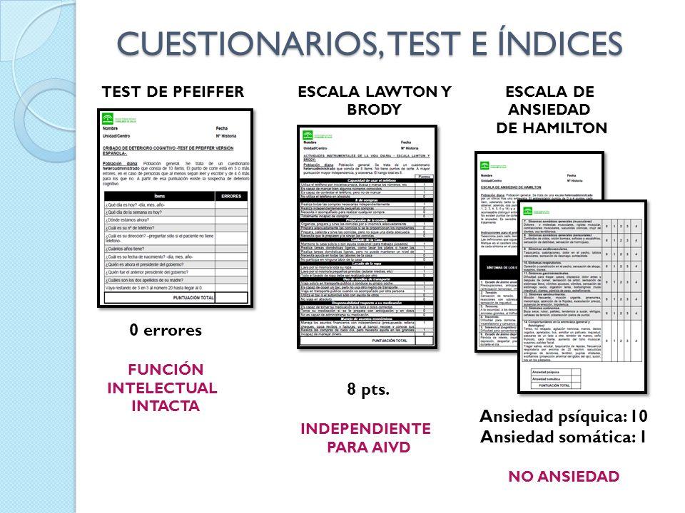 CUESTIONARIOS, TEST E ÍNDICES