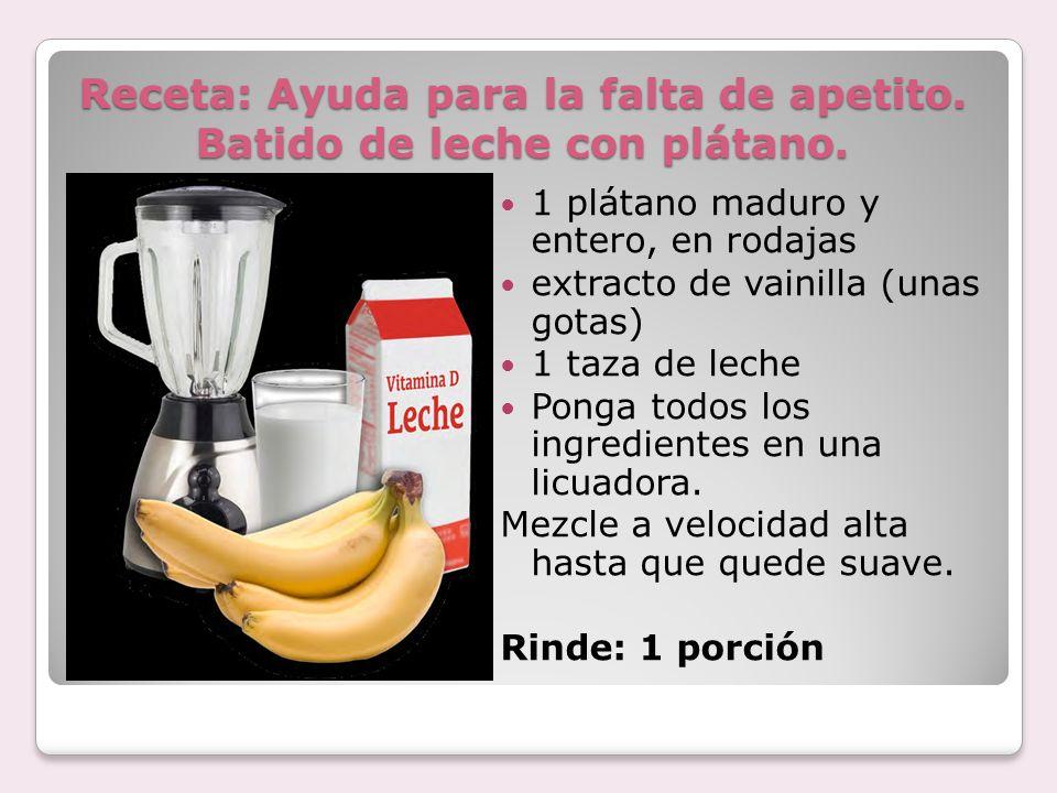 Receta: Ayuda para la falta de apetito. Batido de leche con plátano.