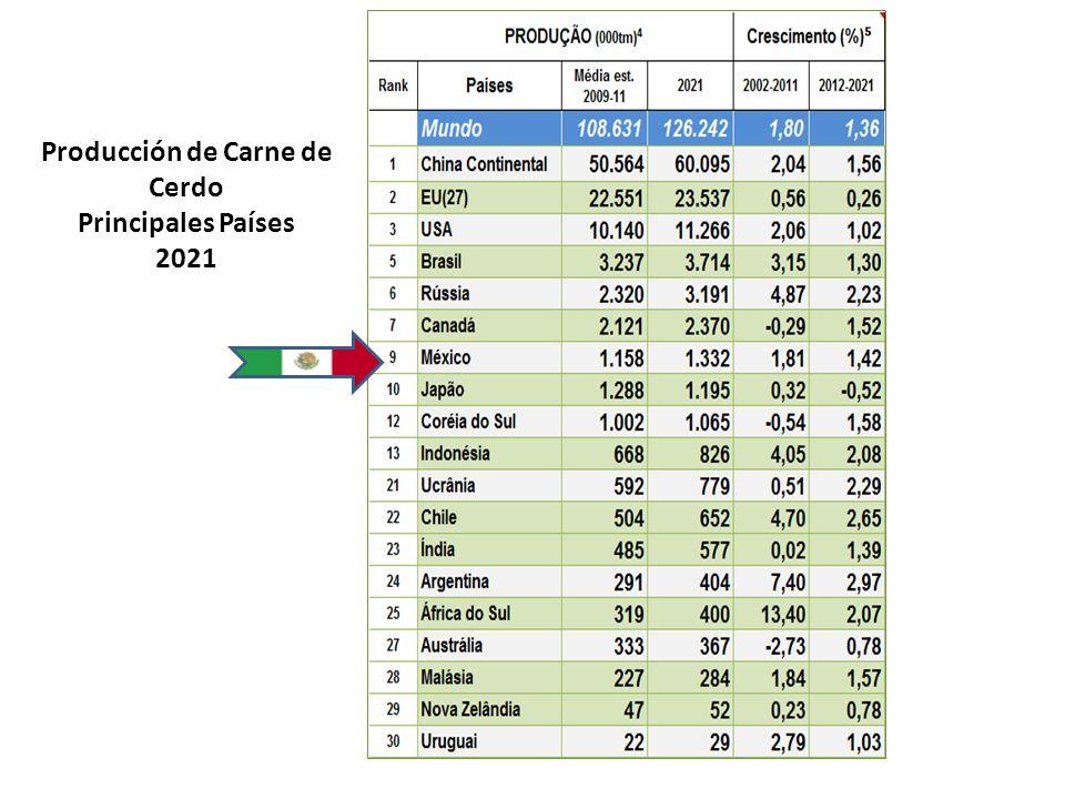 Producción de Carne de Cerdo Principales Países 2021