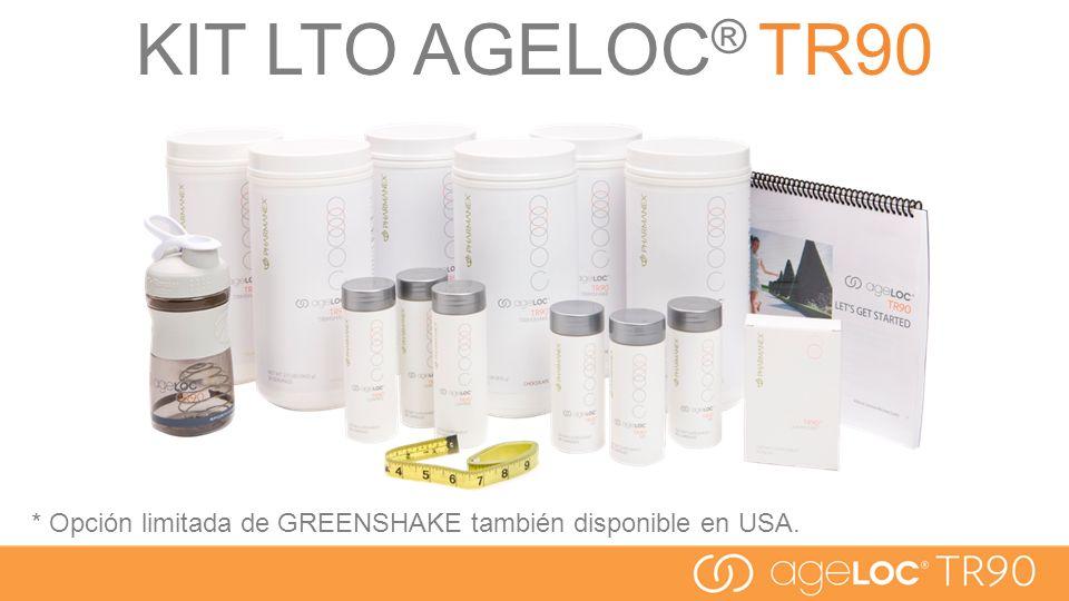 KIT LTO AGELOC® TR90 * Opción limitada de GREENSHAKE también disponible en USA.