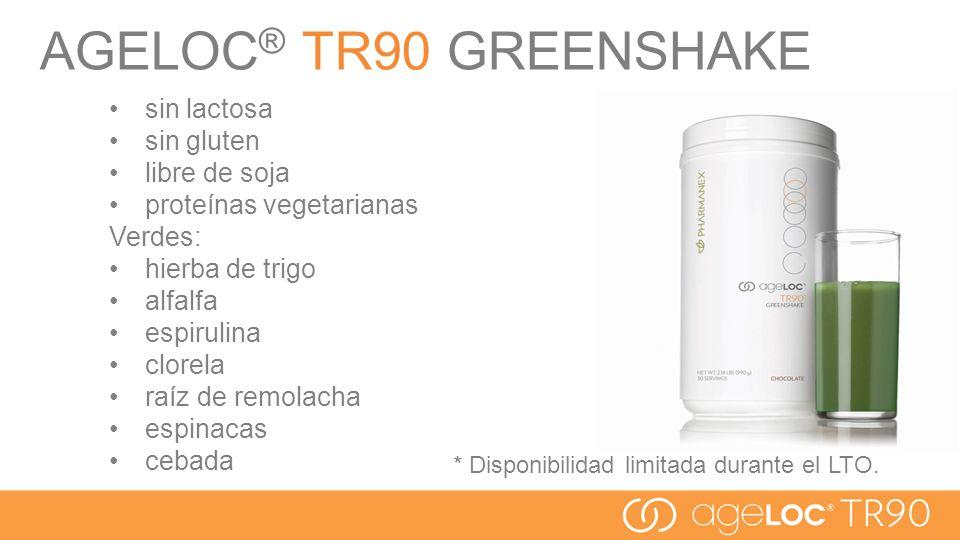 AGELOC® TR90 GREENSHAKE sin lactosa sin gluten libre de soja
