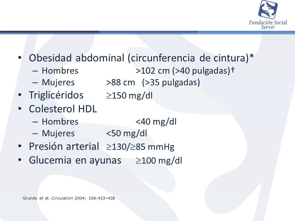 Obesidad abdominal (circunferencia de cintura)*