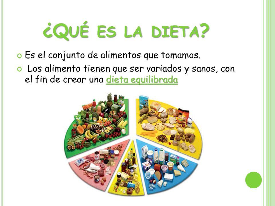 ¿Qué es la dieta Es el conjunto de alimentos que tomamos.