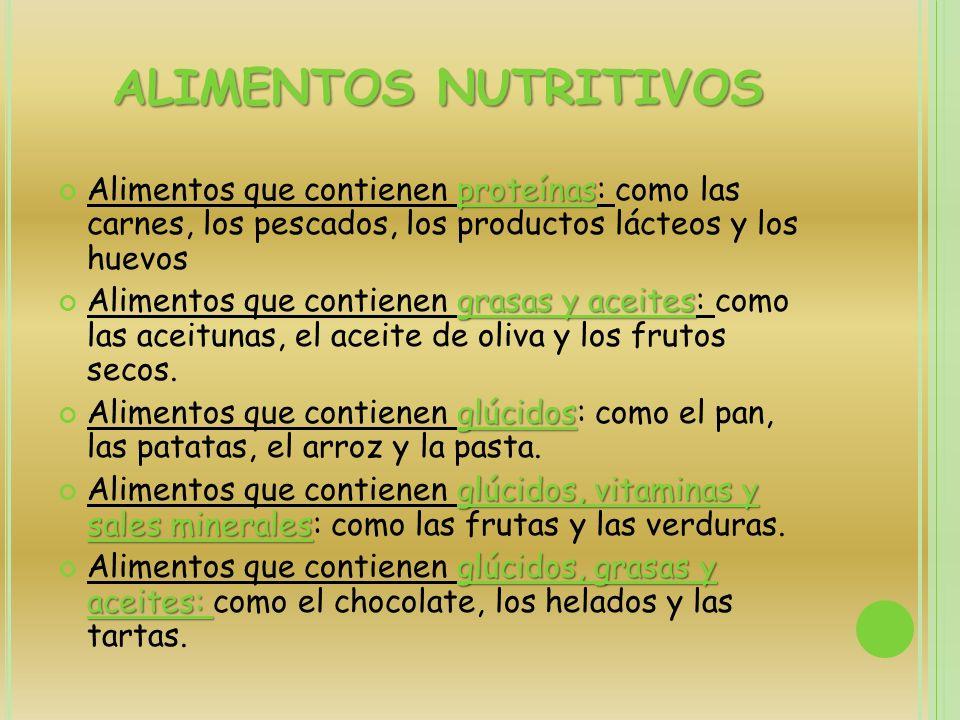 ALIMENTOS NUTRITIVOS Alimentos que contienen proteínas: como las carnes, los pescados, los productos lácteos y los huevos.