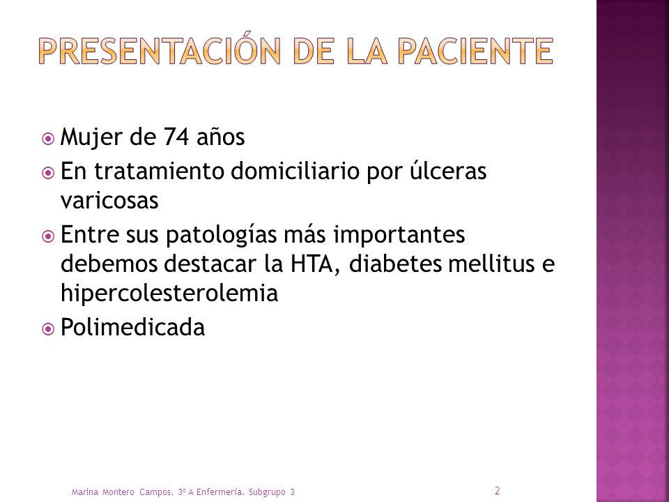 Presentación de la paciente
